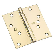 National Hardware N830-401 Security Stud 4 Inch Square Door Hinges Bright Brass 3 Pack