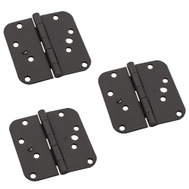National Hardware N830-413 Security Stud 4 Inch 5/8 Radius Corner Door Hinges Black 3 Pack