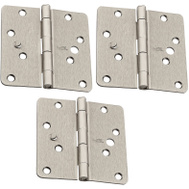 National Hardware N830-418 Security Stud 4 Inch 1/4 Radius Door Hinges Satin Nickel 3 Pack
