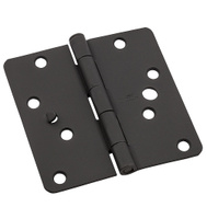 National Hardware N830-420 Security Stud 4 Inch 1/4 Radius Corner Door Hinges Black 3 Pack