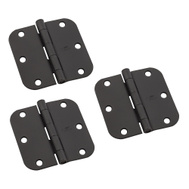 National Hardware N830-423 Door Hinges 3-1/2 Inch 5/8 Radius Black 3 Pack