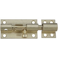 National Hardware N236-326 Heavy Padlockable Barrel Bolt 4 Inch Satin Brass On Steel