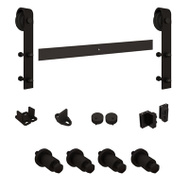 National Hardware N186-990 Sliding Door Hardware Kit 72 Inch Long 150 Pound Rated For 1-3/8 And 1-3/4 Inch Doors Black