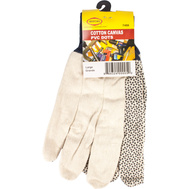 G & F 7488 Mostag Cotton Canvas With Pvc Dots Knit Wrist Gloves Large