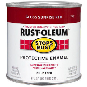 Rust Oleum 7762730 Stops Rust Sunrise Red Gloss Rust Protective Enamel 1/2 Pint Oil Based