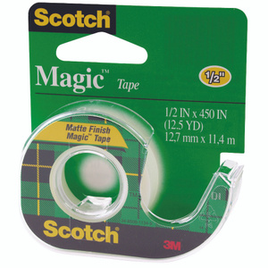 3M 104 Scotch Magic Tape With Plastic Dispenser 1/2 By 450 Inch
