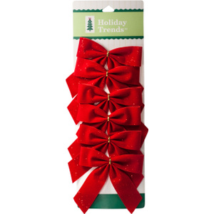 Berwick Offray PT700655TV 6 Count 3 1/2 By 3 1/2 Red Glitter Bow