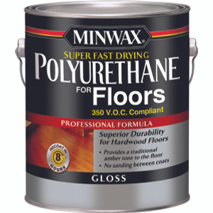 Minwax 13023 Clear Gloss Super Fast Drying Polyurethane For Floors VOC Gallon Oil Based