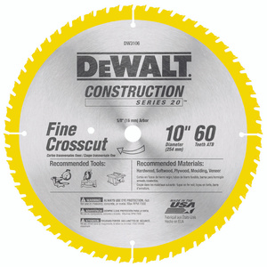 DeWalt DW3106 Series 20 10 Inch Fine Cut 60 Tooth Saw Blade