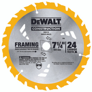 DeWalt DW3178 Series 20 7-1/4 Inch 24 Tooth Framing Blade