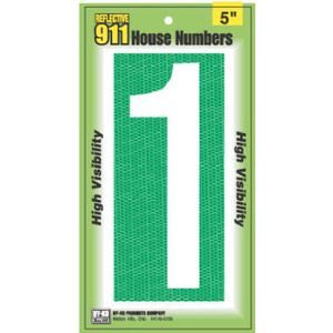 Hy Ko 921 5 Inch Reflective High Visibility House Number 1