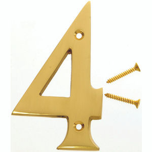Hy Ko BR-90/4 4 Inch Heavy Dimensional Polished Brass House Number 4