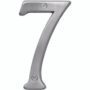 Hy Ko BR-43SN/7 Prestige Series 4 Inch Prestige Satin Nickel House Number 7