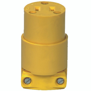Cooper Wiring 4882-BOX Non-Grounded Straight Blade Electrical Connector 125 Volt 15 Amp 2 Pole 2 Wire Yellow