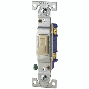 Cooper Wiring 1301-7A Toggle Switch Quiet 1 Pole Framed Grounding Almond 10 Pack