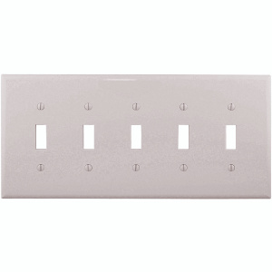 Cooper Wiring PJ5W 5 Gang Toggle Plate White