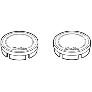 Delta Faucet RP19659 Clear And Chrome Replacement Button Set