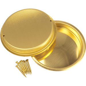Stanley National N196-477 National 2-1/8 Inch Bright Brass Finish Round Flush Door Pull Bag Of 2