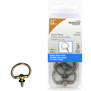 Stanley National N259-838 National 1-1/8 Inch Antique Brass Round Decorative Screw Ring