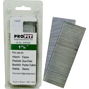 National Nail 0718206 Pro Fit 1-3/4 Inch By 18 Gauge Collated Brad Nails (Pack Of 1000)
