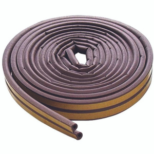 MD Building Products 63602 17 Foot Brown Self Adhesive D-Strip Rubber Weatherstrip For Medium Gaps