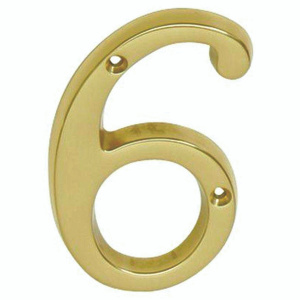 Schlage Lock SC2-3064-605 Schlage Builders Hardware 4 Inch Bright Solid Brass Traditional House Number 6