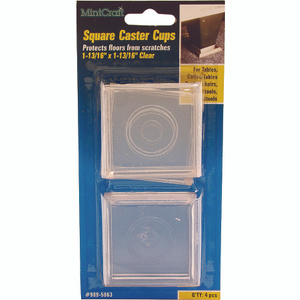 Mintcraft FE-50850 1-13/16 Inch Square Clear Caster Cup