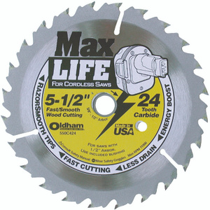 Oldham 550C424 Max Life 5-1/2 Inch 24 Tooth Atb Cordless Saw Blade With 5/8 Inch Arbor