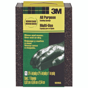 3M 909 Flexible Sanding Sponge, 3-3/4 Inch By 2-5/8 Inch By 1 Inch, Medium And Coarse G