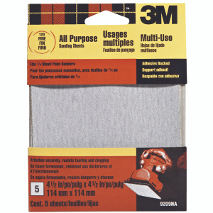 3M 9209 Palm Sander Sheets, Adhesive Backed, 4-1/2 Inch By 4-1/2 Inch, Fine Grit