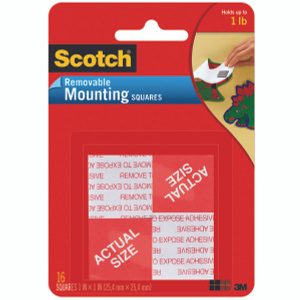 3M 108 Scotch Adhesive Mounting Squares Removable 1 By 1 Inch Pack Of 16