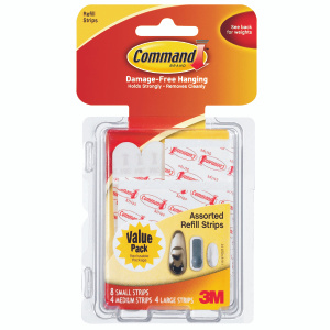 3M 17200 CL Command Replacement Adhesive Strips, Assorted Sizes