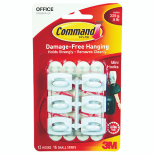 3M 17006-18ES Command Utility Hooks, With Adhesive, Mini, Clear, 18 Pack