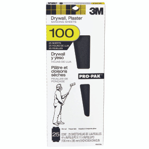3M 99432 Drywall Sanding Sheets Diecut 4 3/16 By 11 1/4 Inch 100 Grit