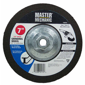 Master Mechanic 108404 7 By 1/4 By 5/8 Inch Hubbed Metal Depressed Center Grinding Wheel