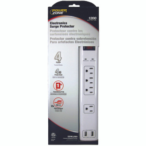 Power Zone OR505104 Surge Protector 4 Outlet White 4 Foot Cord