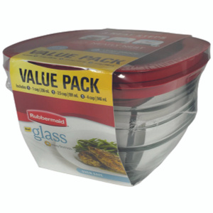 Rubbermaid Home 2856010 Easy Find Lids Glass Food Storage Container 6 Piece