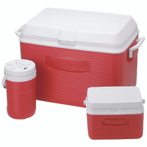 Rubbermaid Home 1946229 Value Pack 48 Qt Red Val Pack Cooler Combo