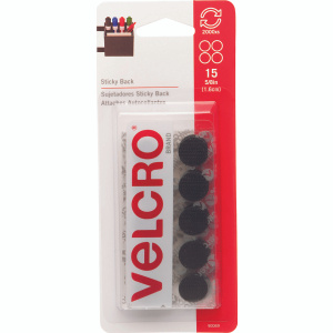 Velcro 90069 Sticky Back 5/8 Inch Coin Fastener Black Pack Of 15
