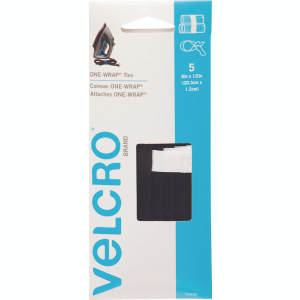 Velcro 91426 One Wrap Straps 8 By 1/2 Inch Black Cable Wrap Straps Pack Of 5
