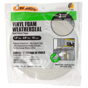 Thermwell V445 Frost King 3/8 Inch By 10 Foot Gray Vinyl Foam Weather Seal With Self Stick Tape
