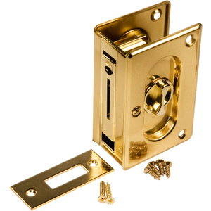 Prime Line 162779 / N 7365 Polished Solid Brass Pocket Door Lock And Pull