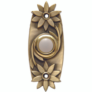 Thomas & Betts DH1641L Antique Brass Floral Design Lighted Door Chime Button