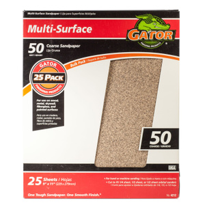 Ali 4212 Gator 9 By 11 Inch Multi Surface Sandpaper 50 Grit Aluminum Oxide 25 Sheets
