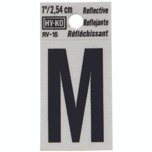 Hy Ko RV-15/M RV Series 1-1/4 Inch Black On 1-1/2 Inch Silver Reflective Vinyl Letter M
