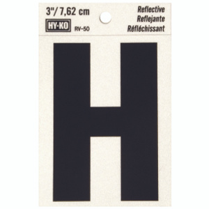 Hy Ko RV-50/H RV Series 3 Inch Bend And Peel Black On Silver Reflective Vinyl Letter H