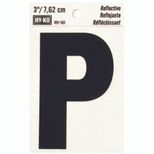 Hy Ko RV-50/P RV Series 3 Inch Bend And Peel Black On Silver Reflective Vinyl Letter P