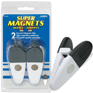 Master Magnetics 07523 Large White Magnetic Clips Pack Of 2