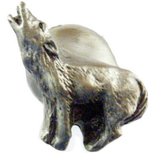 Sierra Lifestyles SL-681398 Rustic Lodge Collection Howling Wolf Cabinet Knob Pewter
