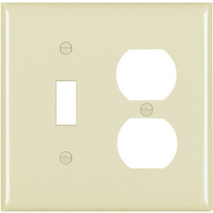 Pass & Seymour SPO18IU Ivory 2 Gang 1 Duplex Outlet Opening And 1 Decorator Opening Oversize Wall Plate